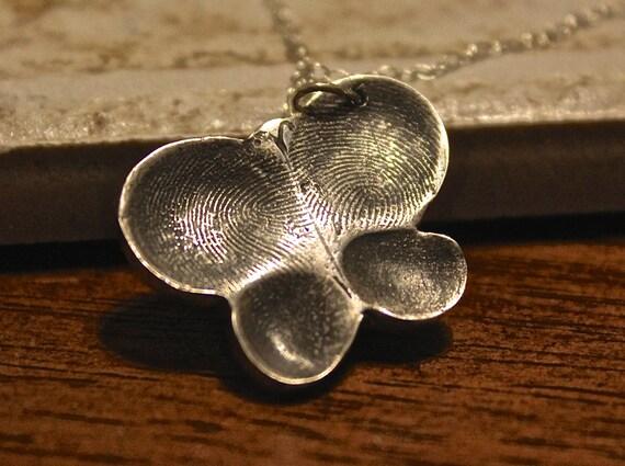 Butterfly Fingerprint Charm, Butterfly Fingerprint Necklace, Four Fingerprint Necklace, Family Fingerprints Charm, Sterling Silver Butterfly