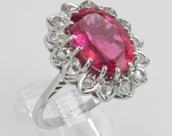 4.84 ct Rose Cut Diamond and Pink Tourmaline Halo Engagement Ring 14K White Gold Size 5.5