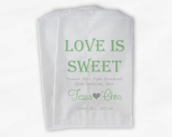 Love Is Sweet Wedding Candy Buffet Treat Bags - Personalized Favor Bags in Light Sage Green and Gray - Custom Paper Bags (0069)