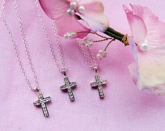 Bridesmaids Necklace Set of Three Sterling Silver  Crosses or Crucifixes