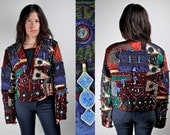 Vintage 80s Judith Roberts Applique Bolero Jacket with Lapis