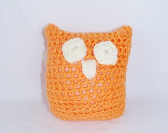 Crochet Owl Baby Rattle - Orange