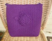 tote bag or purse purple brown made from recycled  sweater OOAK