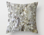 Sycamore Tree Bark - White, Black, Gray - Throw Pillow Cover - Earthy - Nature - Italy