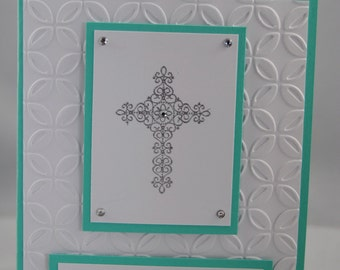 Handcrafted God Bless You Baptism, Christening, Confirmation, First Communion Card