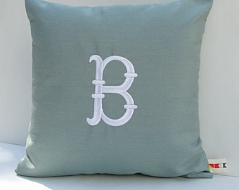 Sunbrella MONOGRAMMED FRENCH FISHTAIL pillow cover indoor outdoor embroidered letter initial dorm nursery decor wedding gift oba canvas co.