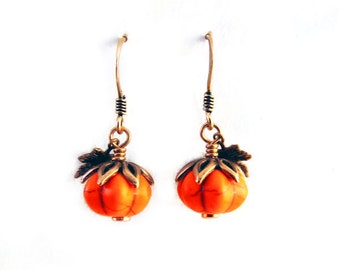 Harvest Pumpkin Earrings - Semiprecious Gemstone Pumpkins - Cute Halloween Thanksgiving Autumn Jewelry
