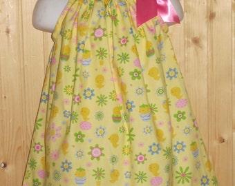 Handmade easter pillowcase dress chicks,egg,tulips infant,toddler girls dress with free hair bow