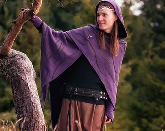 Phoenix Elven Shawl Robe with Brooch and Elf Gloves