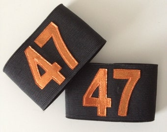 Numbered Elastic Arm Bands - Custom Size and Colours - Orange and Black