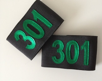 Numbered Elastic Arm Bands for Roller Derby- Custom colours and size