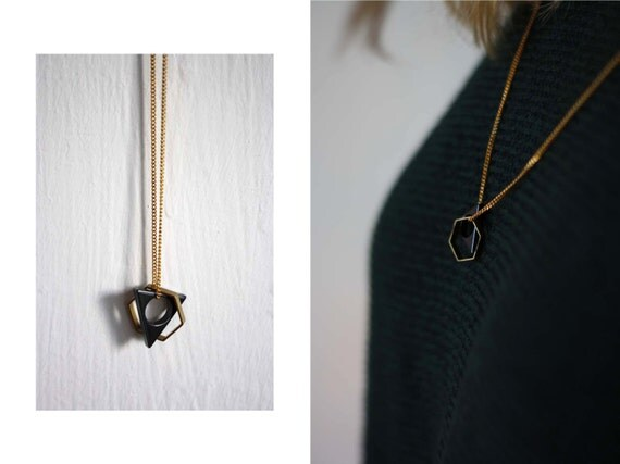 Necklace // grey / gold // triangle & honeycomb