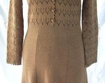 Earthy Sweater Dress ~ Brown Tone ~ Lacy Knit Openwork Crochet  Trim ~ Bohemian Hippie Chic ~ Authentic Vintage JoAnn of California