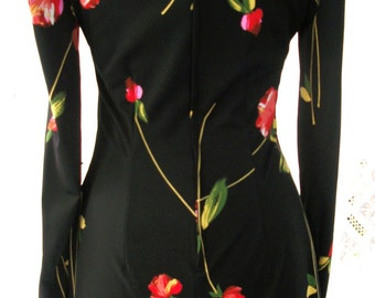 Rare Olga Maxi Dress ~ Bohemian Gypsy Hippie Chic ~ Red Roses on Black ~ Maxi Hostess Dress