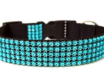 "Turquoise Dog Collar 1"" Rhinestone Dog Collar"