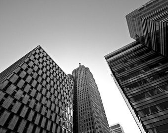 Detroit Architecture Photography - Three Detroit Buildings - Black and White
