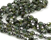 Rosary Chain - 6mm Green Beads on Black Brass Links - Czech Bead Chain - 3 Feet