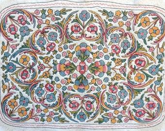 Vintage folk art, felted wool fiber art, wall hanging floral tapestry