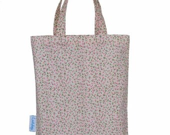 Pink Floral Party Bag, Fabric Gift Bag, Tote Bag