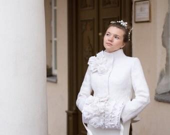 Bridal Jacket | White Elegant Bridal Felted Jacket for Women | white jacket | wool jacket | winter wedding | Exclusive ooak