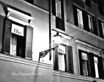 Dior, Fine Art Photography, Fashion, Rome, Italian Home Decor, Streets of Italy, Dorm Decor, Black & White, Paris, French, Nursery, Night