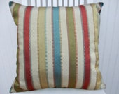 Green Turquoise Striped Pillow Cover Decorative Throw Pillow Cover--- -Turquoise,  Red, Cream, Gold, Green.