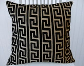 Black Velvet Pillow Cover-- 18x18 or 20x20 or 22x22 Geometric Decorative Throw Pillow--Accent Pillows