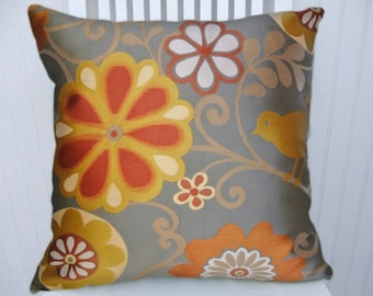 Grey Decorative Pillow Cover -- with Orange Marigold, Red, Brown NEW!! Floral 18x18 or 20x20 or 22x22 or Custom Sizes