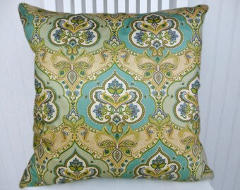 Green Blue Decorative Pillow Cover--18x18 or 20x20 or 22x22--Accent  Pillow-- Scarf Pillow