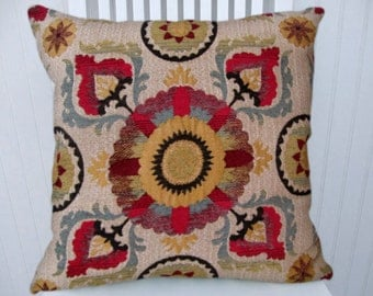 Red Blue Suzani  Pillow Cover-- 18x18 or 20x20 or 22x22 Decorative Throw Pillow--Sand, Yellow, Blue, Black
