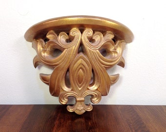 Ornate Filigree GOLD Shelf Hollywood Regency Gold Filigree Syroco Decorative Shelves Shelving