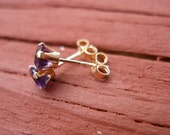 Amethyst 14k Yellow Gold Stud Earrings Brilliant Cut Amethyst Set In a Solid 14k Gold 4 Prong Setting With Choice of 3mm or 4mm Gems