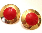 RED round  post earrings, Vintage Red and Gold Pierced Earrings.  Gift for Grandmother, Retro Earrings, Christmas Earrings