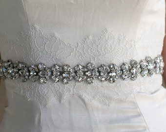 "Thick Jewel Bridal Sash, Vintage Style Rhinestone Wedding Sash - Diamond Metal Backed Bridal Belt - 1"" wide - Style SA609"