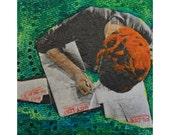 Angry Red Head 3x3 Miniature Illustrative Painting on Canvas Collage Mixed Media Lists Green Gel Transfer