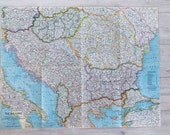 1962 the balkans national geographic wall map