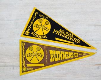 vintage 1970s SDSA badminton pennant flags