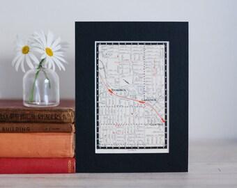"1950s map of Melbourne suburbs, Australia - Hawthorn East, Camberwell, Glen Iris and East Malvern, ready to frame, 6 x 8"""