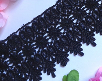 Venise Lace trim, 3+3/4 inch-black color -1yard