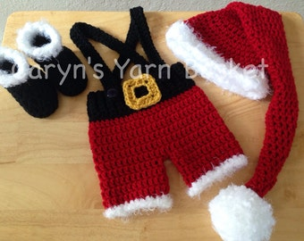 Baby Elf Costume, Santa Stocking Hat, 4pc Shorts/Pants Boots Set. Crochet, Photography Prop, Newborn/0-3 Months - MADE TO ORDER