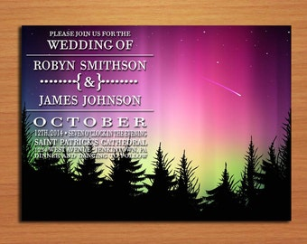 Northern Lights / Aurora Borealis Wedding Invitation PRINTABLE / DIY