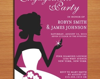 Sparkly Silhouette Engagement Party Customized Printable Invitations /  DIY