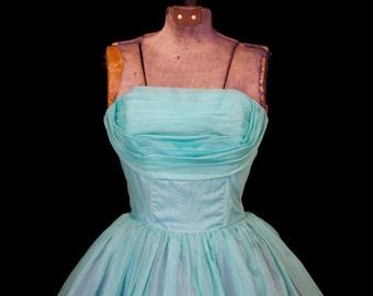 1950s Dress // Strapless Shelf Bust Turquoise Organdy Full Skirt Party Dress