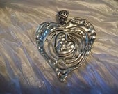Gorgeous Large Silver Plated Artisan Heart Pendant with Attached Bail.