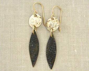 Mixed Metal Earrings, Brass Drop Earrings, Brown Tan Recycled Earrings, Upcycled Rustic Dark Patina Boho Dangle Jewelry