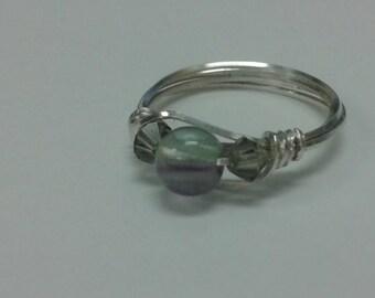 Rainbow Fluorite and Smokey Crystal Ring - US size 8