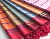 Bade Pestemal Towel. Bath & Beach Towel. Red, blue striped Turkish Towel, Fouta, Peshtemal, Gift