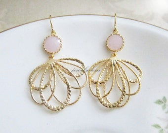 Pink Wedding Earrings Gold Bridal Jewelry Blush Light Pink Pale Dangling Stone Glass Elegant Statement Bridesmaids Earrings Set Gift C1 JW