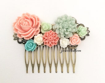 Peach Pink Mint Green Wedding Pastel Coral Mint Shabby Chic Bridal Hair Comb Romantic Woodland Hair Accessories for Bride Floral Headpiece
