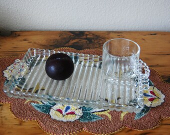 Vintage Hazel Atlas Orchard Crystal Snack Set, Vintage Colony Crystal Snack Set, Vintage Clear Crystal Snack Set from The Eclectic Interior
